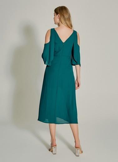 NGSTYLE Bağcık Detaylı Yırtmaçlı Elbise Yeşil